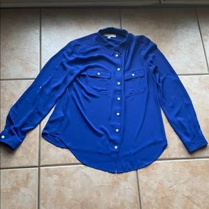 3/$30 LOFT Royal Blue Utility Blouse Size Medium
